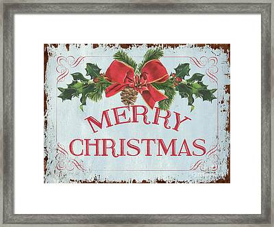 Folk Merry Christmas Framed Print