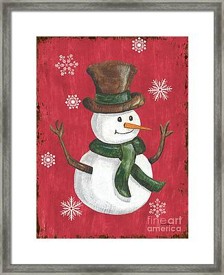 Folk Snowman Framed Print by Debbie DeWitt