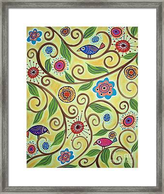 Folksy Branch Birds Framed Print by Karla Gerard