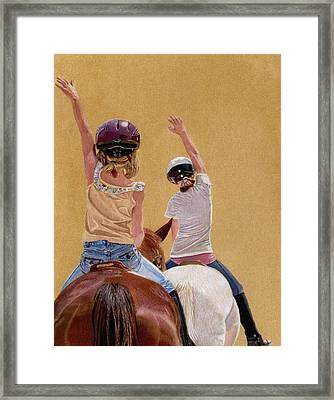 Follow The Leader - Horseback Riding Lesson Painting Framed Print