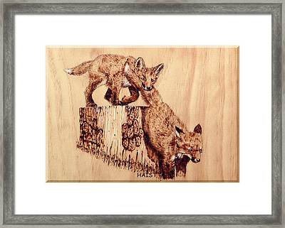 Framed Print featuring the pyrography Follow The Leader by Ron Haist