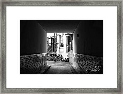 Follow The Light In Hamburg Mono Framed Print