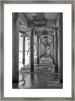 Framed Print featuring the photograph Follow The Lines Under Huntington Beach Pier by Ana V Ramirez