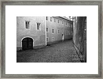 Follow The Road In Salzburg Mono Framed Print by John Rizzuto