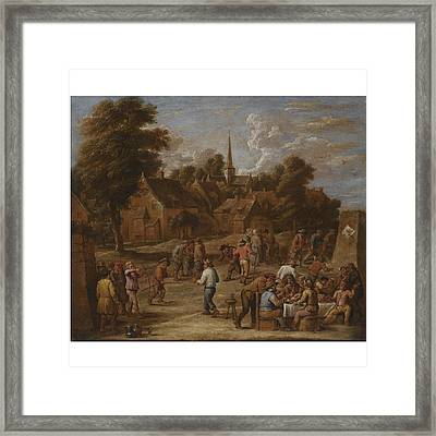 Follower Of David Teniers The Younger A Village Kermesse With Peasants Making Merry And Shooting Wit Framed Print