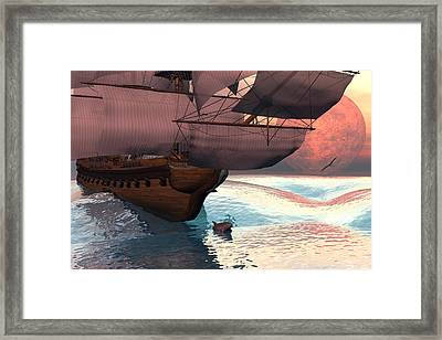 Following The Navigator Framed Print by Claude McCoy