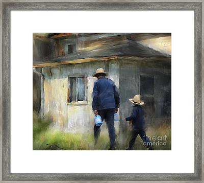 Follows In His Footsteps Framed Print