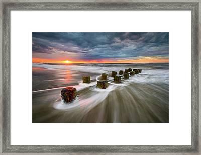 Folly Beach Charleston Sc South Carolina Sunrise Seascape Framed Print