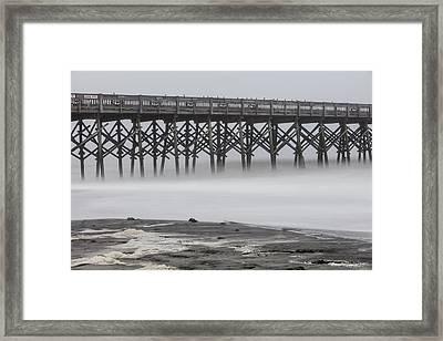 Folly Beach Pier And Fog Framed Print by John McGraw