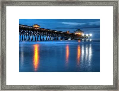Folly Beach Pier At Blue Hour Charleston South Carolina Framed Print