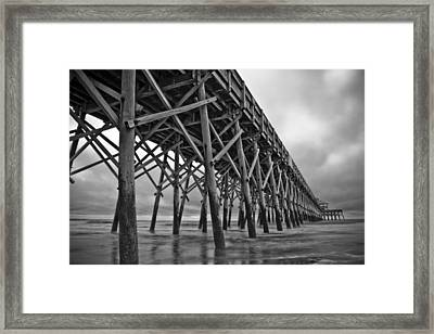 Folly Beach Pier Black And White Framed Print