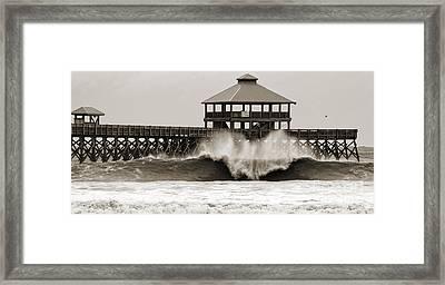 Folly Beach Pier Hurricane Irene 2011 Framed Print