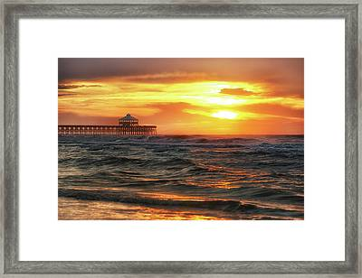 Folly Beach Pier Sunrise Framed Print