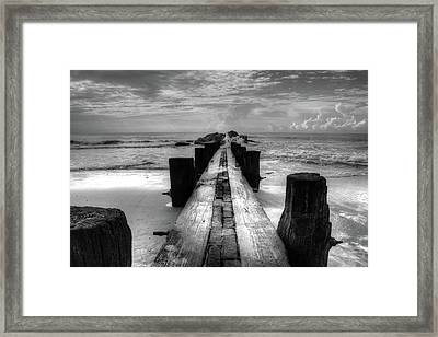 Folly Beach Pilings Charleston South Carolina In Black And White  Framed Print