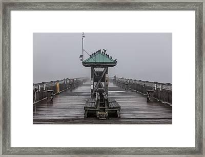 Folly Pier On Foggy Day Framed Print by John McGraw