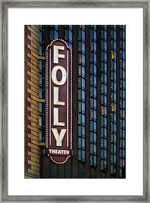 Folly Theater Sign Kansas City Framed Print by Thomas Zimmerman