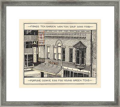 Framed Print featuring the drawing Fongs Tea Garden by Chholing Taha