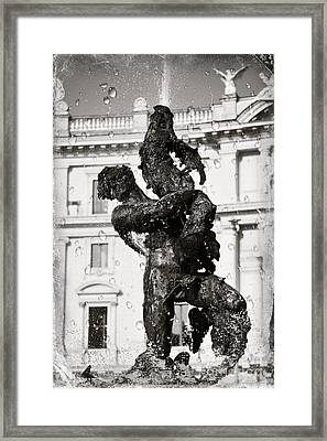 Fontain In Rome - Black And White Framed Print