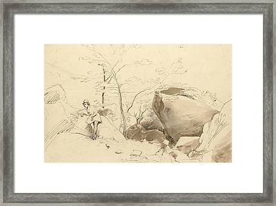 Fontainebleau, Figure Leaning Against A Rock Framed Print by Jean-Baptiste-Camille Corot