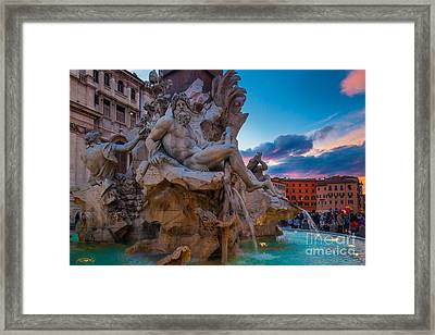 Fontana Dei Quattro Fiumi Framed Print by Inge Johnsson
