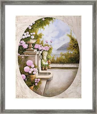 Fontana Sul Terrazzo Framed Print by Guido Borelli