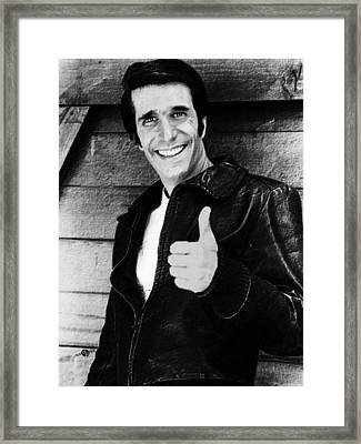 Fonzie Happy Days Black And White Painting Framed Print