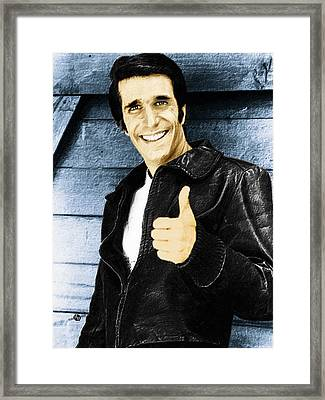 Fonzie Happy Days Painting Framed Print