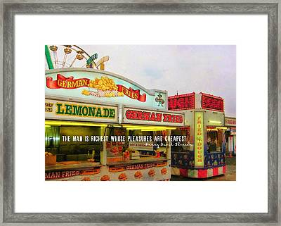 Food And Fun Quote Framed Print by JAMART Photography