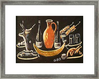 Food And Wine Framed Print by George I Perez