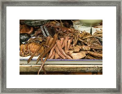 Food At Chinese Market Framed Print by Inga Spence