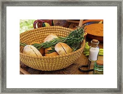 Food - Bread - Rolls And Rosemary Framed Print by Mike Savad