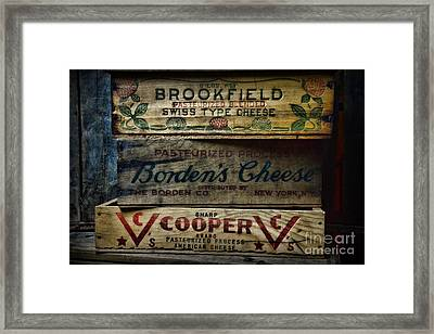 Food - Vintage Wooden Cheese Boxes Framed Print