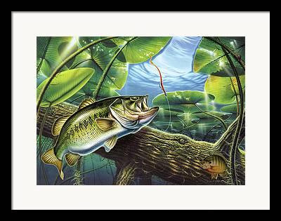 Jon Q Wright Fish Fishing Bass Largemouth Lure Lily Pads Lake Angling Framed Prints