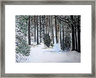 Framed Print featuring the painting Fool's Wood by Leslie Byrne