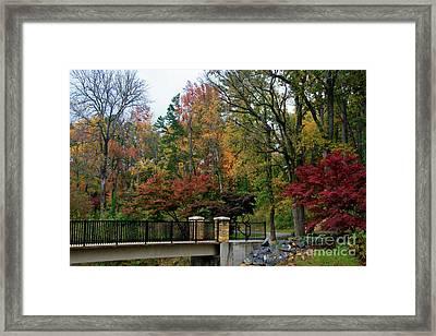 Foot Bridge In The Fall Framed Print