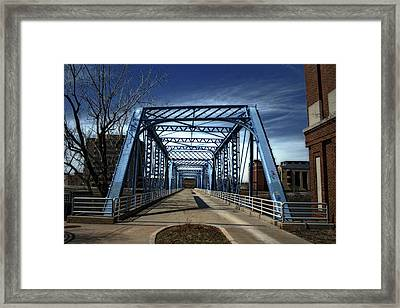 Foot Bridge Over The Grand River Framed Print
