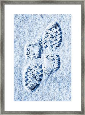 Foot Prints In Snow Blue Tone Framed Print