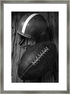 Football And Helmet In Black And White Framed Print by Garry Gay