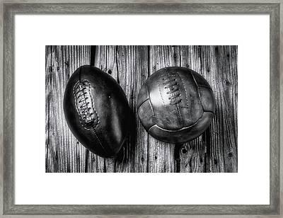 Football And Soccer Ball Framed Print