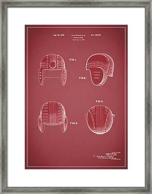 Football Helmet 1935 - Red Framed Print by Mark Rogan