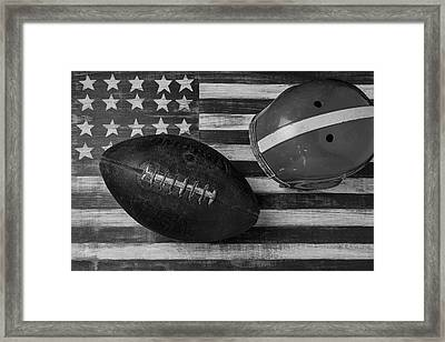 Football Helmet Black And White Framed Print by Garry Gay