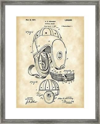Football Helmet Patent 1927 - Vintage Framed Print by Stephen Younts