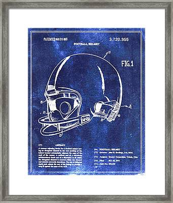 Football Helmet Patent Blueprint Drawing Framed Print by Tony Rubino