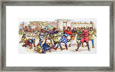 Football In The Middle Ages Framed Print