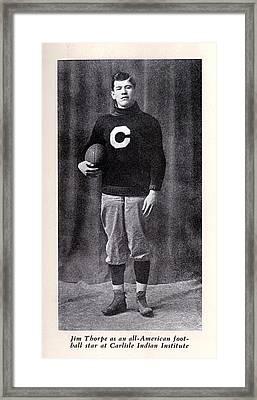 Football, Jim Thorpe In Carlisle Indian Framed Print