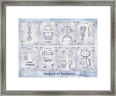 Football Patent History Blueprint Framed Print