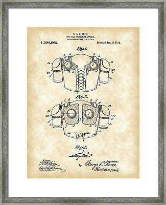 Football Shoulder Pads Patent 1913 - Vintage Framed Print by Stephen Younts