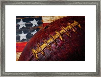 Football Stitching Framed Print