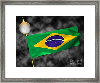 Football World Cup Cheer Series - Brazil Framed Print by Ganesh Barad