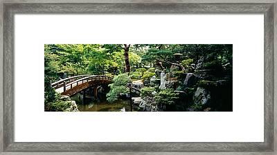 Footbridge Across A Pond, Kyoto Framed Print